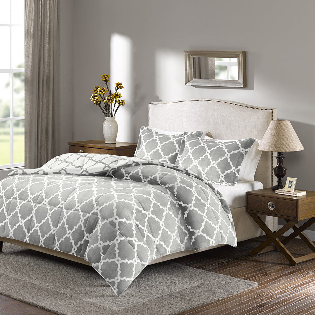 True North by Sleep Philosophy - Peyton Reversible Plush Comforter Mini Set - Grey - Full/Queen