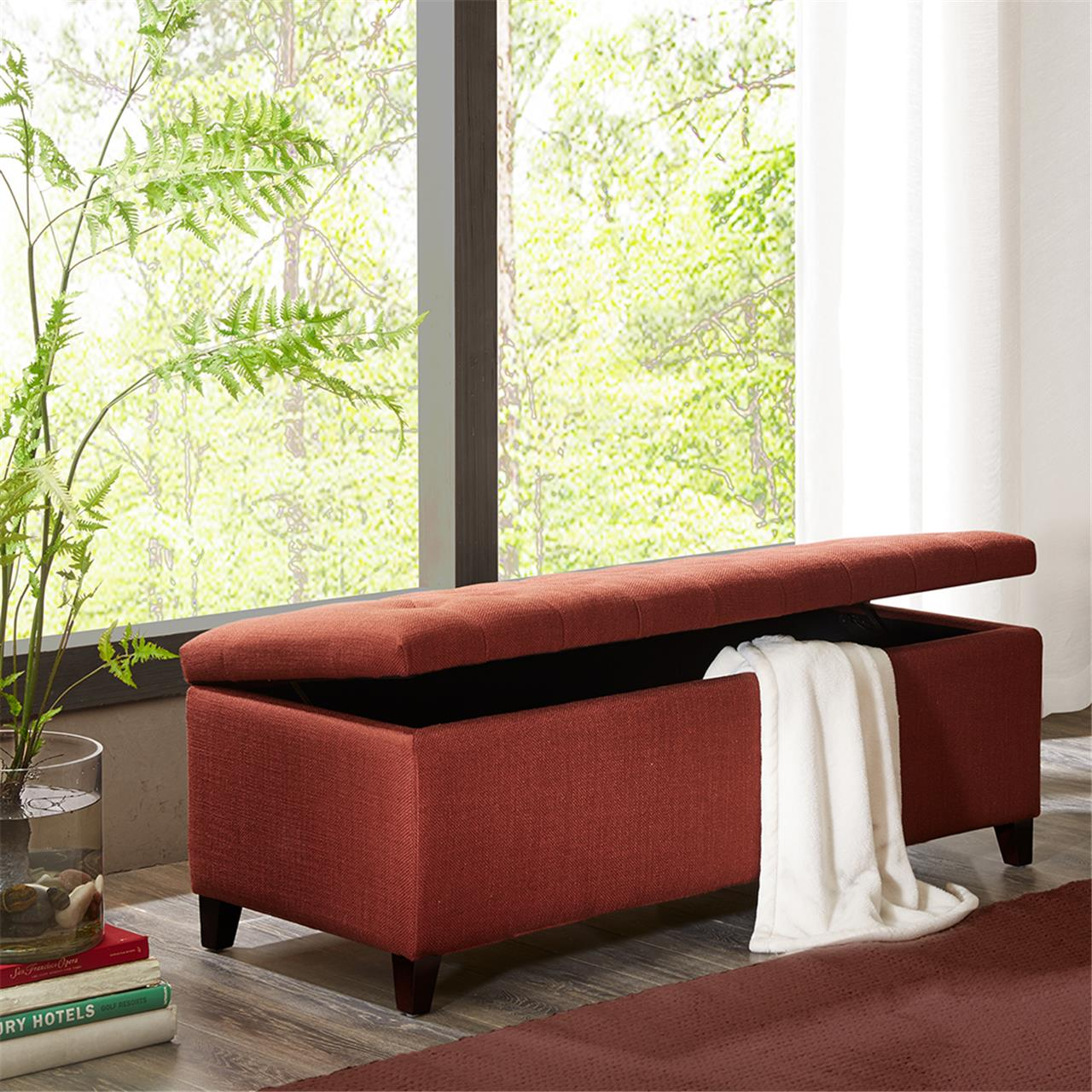 Madison Park - Shandra Tufted Top Storage Bench - Rust Red - See below