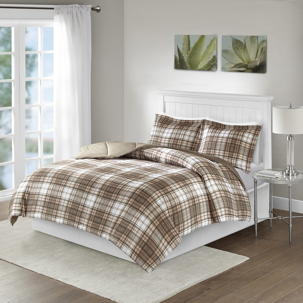 Madison Park Essentials - Parkston 3M Scotchgard Down Alternative All Season Comforter Set - Tan - Full/Queen