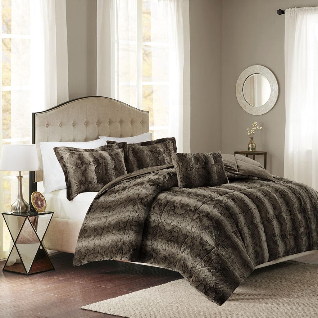 Madison Park - Zuri Faux Fur Comforter Set - Chocolate - Full/Queen