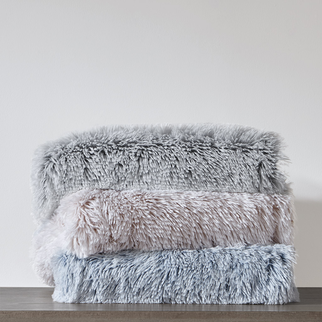 "Intelligent Design - Emma Shaggy Faux Fur Throw - Blush - 50""W x 60""L"