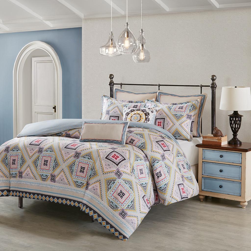 Echo Design - Ibiza Cotton Reversible Print Duvet Cover Set - Multi - Full/Queen