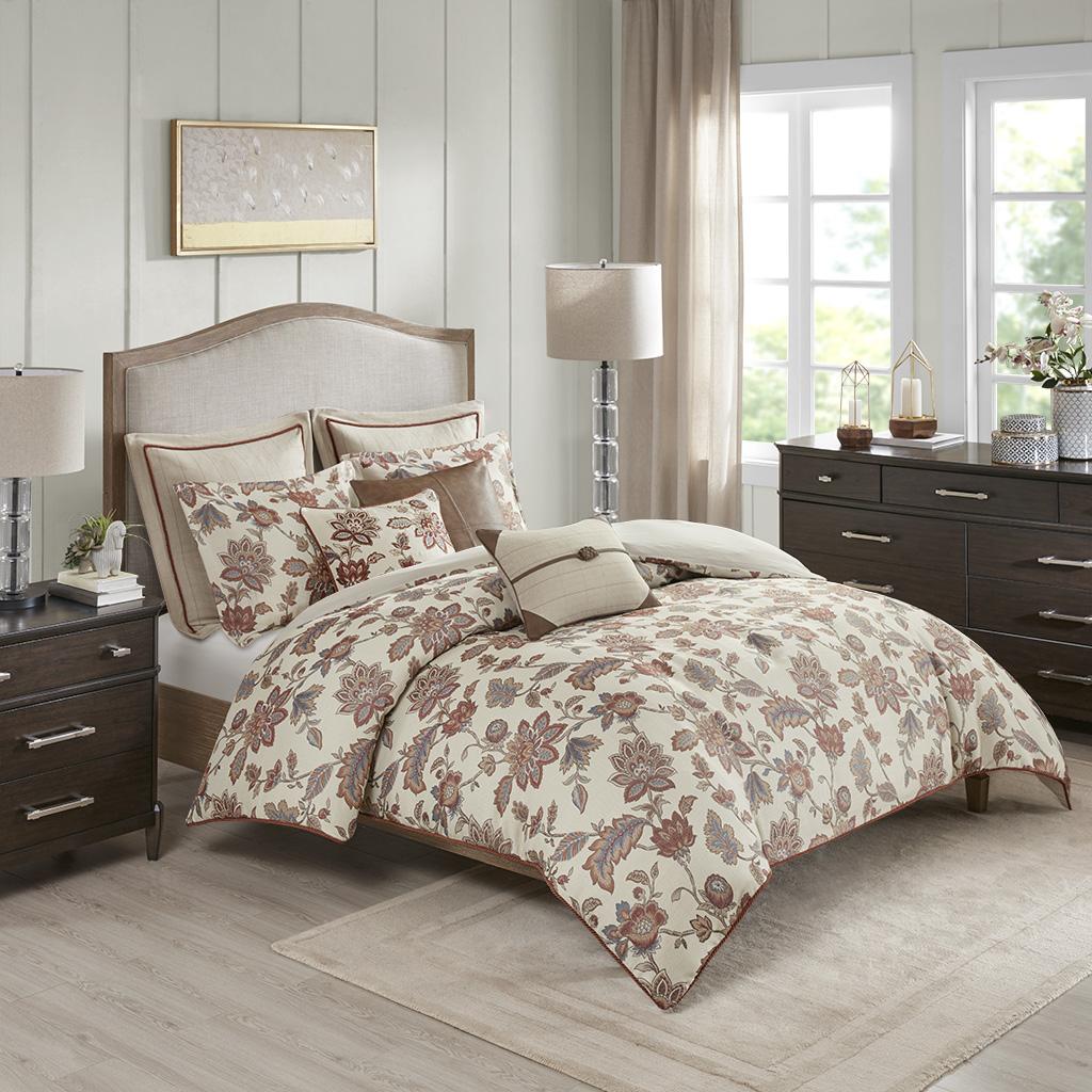 Madison Park Signature - Wentworth Jacquard Comforter Bedding Set - Red - King