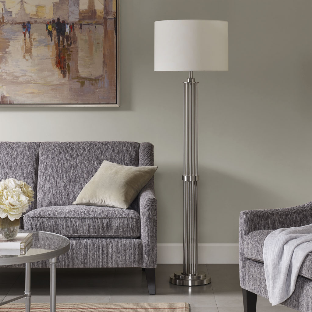 Madison Park Signature - Kingston Floor lamp - Silver - See below