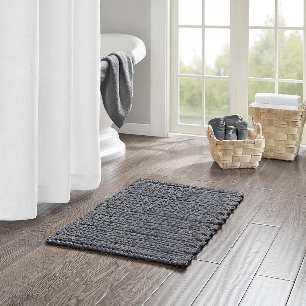 Madison Park - Lasso 100% Cotton Chenille Chain Stitch Rug - Charcoal - 20x30