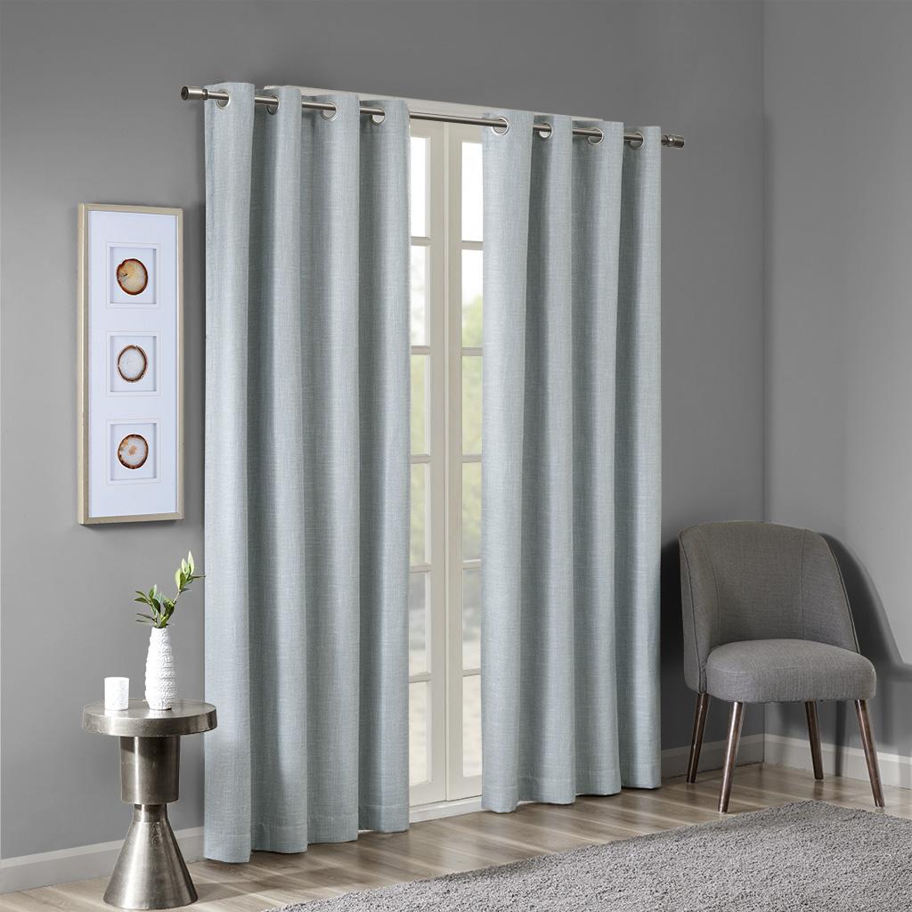 SunSmart - Maya Printed Heathered Blackout Grommet Top Curtain Panel - Aqua - 50x54