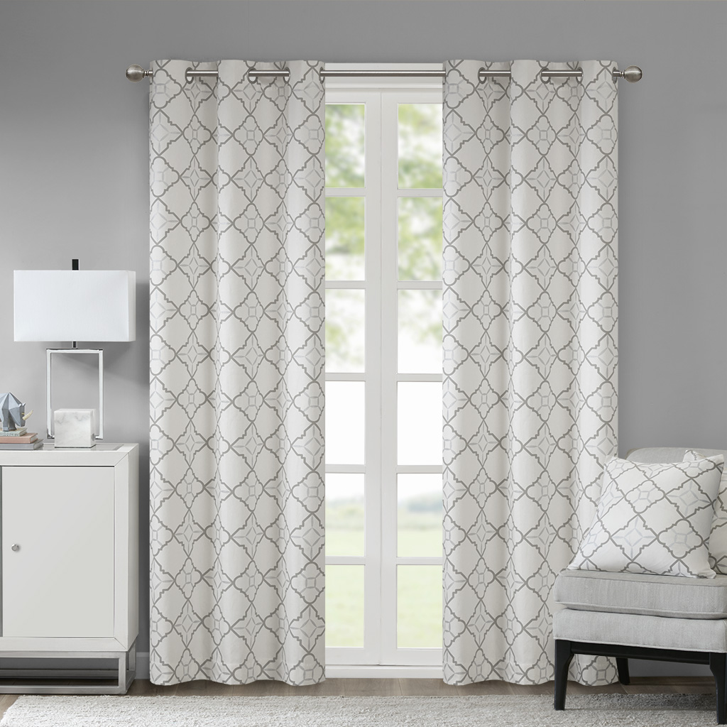 """Madison Park - Hayes Cotton Duck Printed Grommet Window Curtain Set of 2 - Grey - 95"""" Panel"""