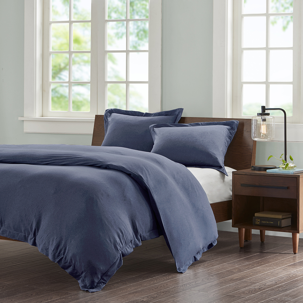 INK+IVY - Cotton Jersey Knit Heathered Duvet Cover Mini Set - Navy - King