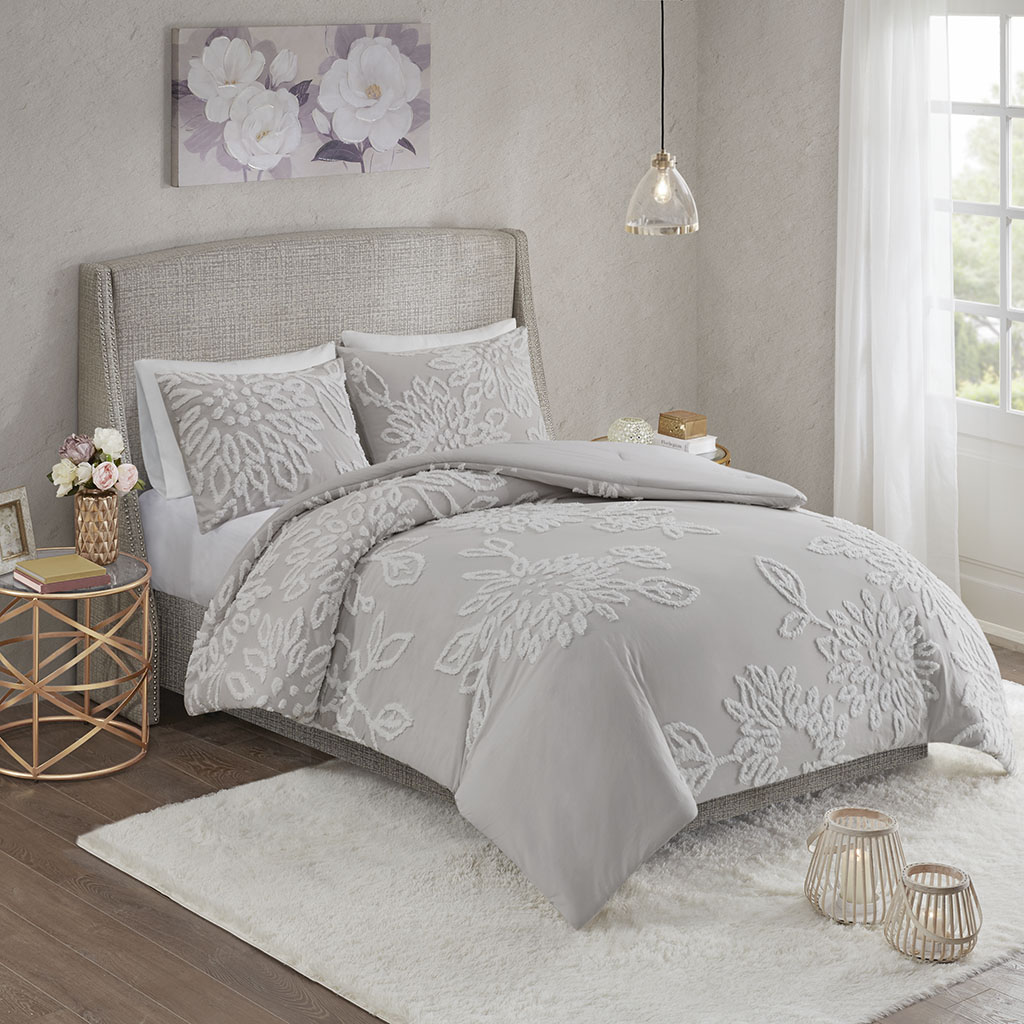 Madison Park - Veronica 3 Piece Tufted Cotton Chenille Floral Comforter Set - Grey/White - Full/Queen