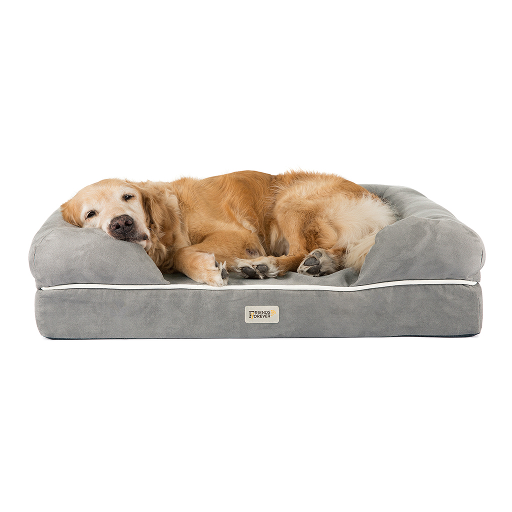 Friends Forever - Chester Pet Couch with Solid Memory Foam - Grey - 44x34+10