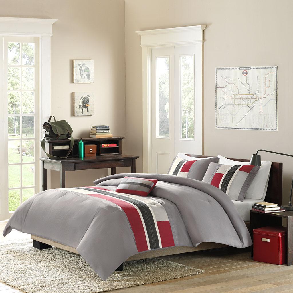 Mi Zone - Pipeline Comforter Set - Red - Twin/Twin XL