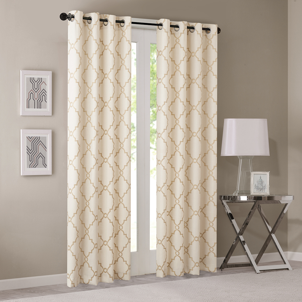 "Madison Park - Saratoga Fretwork Print Grommet Top Window Curtain - Beige/Gold - 84"" Panel"
