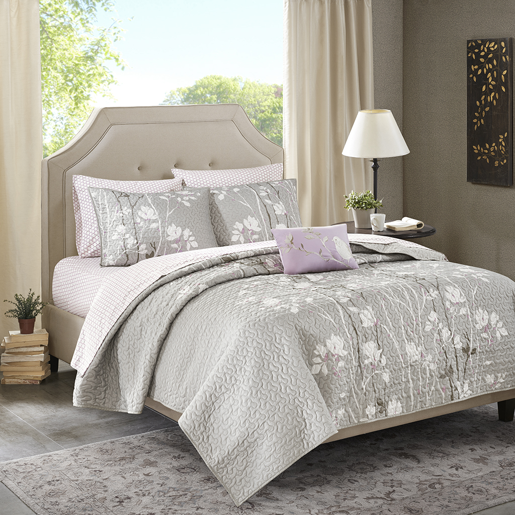 Madison Park Essentials - Vaughn Complete Coverlet and Cotton Sheet Set - Grey - King