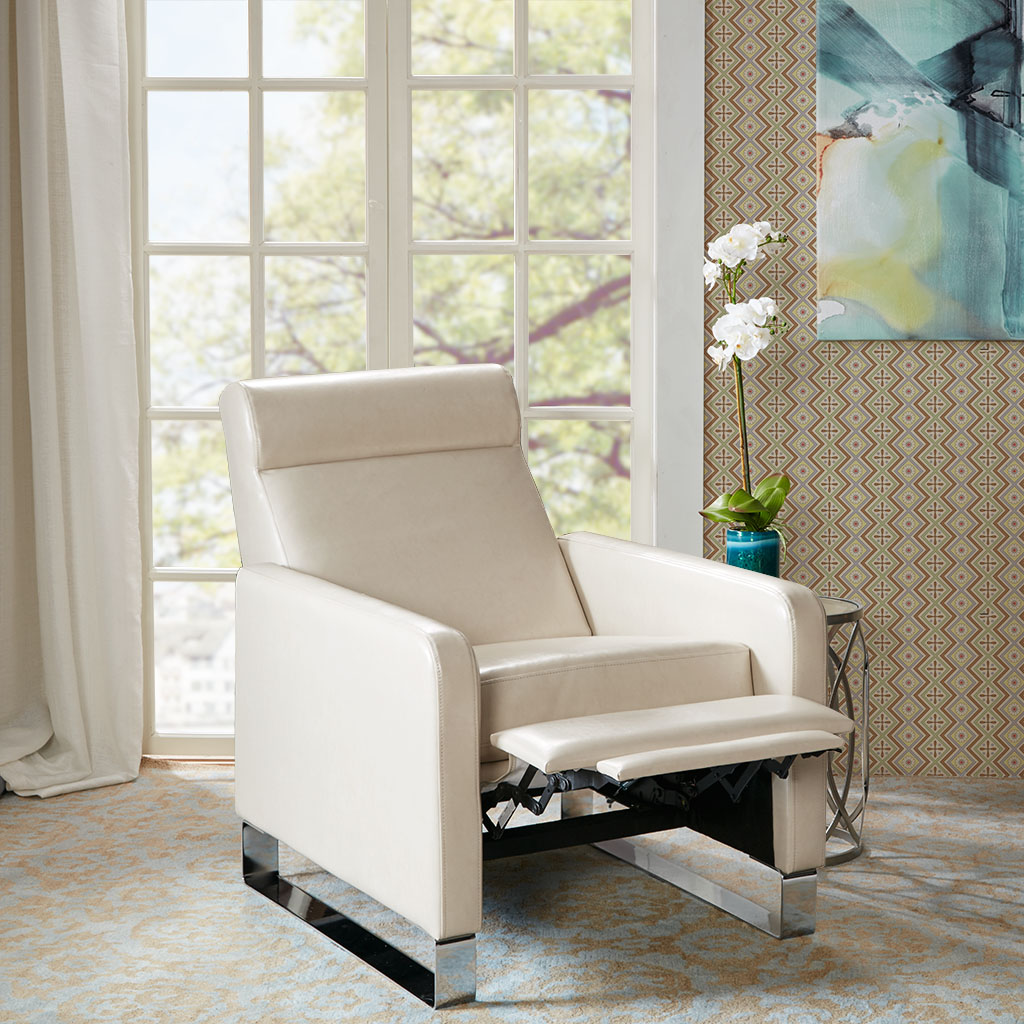 Madison Park - Percy Push Back Recliner - Ivory - See below