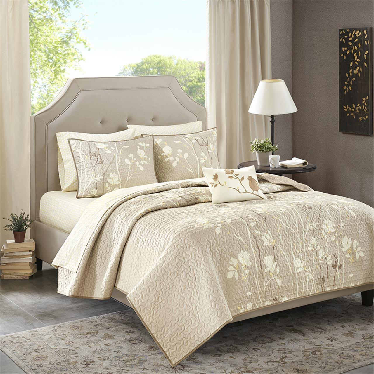 Madison Park Essentials - Vaughn Complete Coverlet and Cotton Sheet Set - Taupe - King