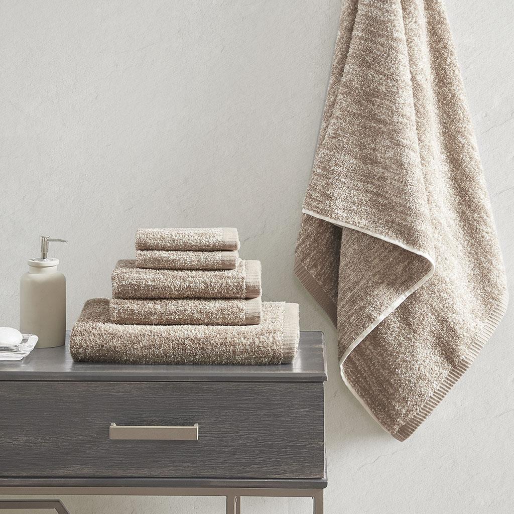 Madison Park Signature - Melange 100% Turkish Cotton Intermingle Jacquard 6 Piece Towel Set - Taupe - 28x54