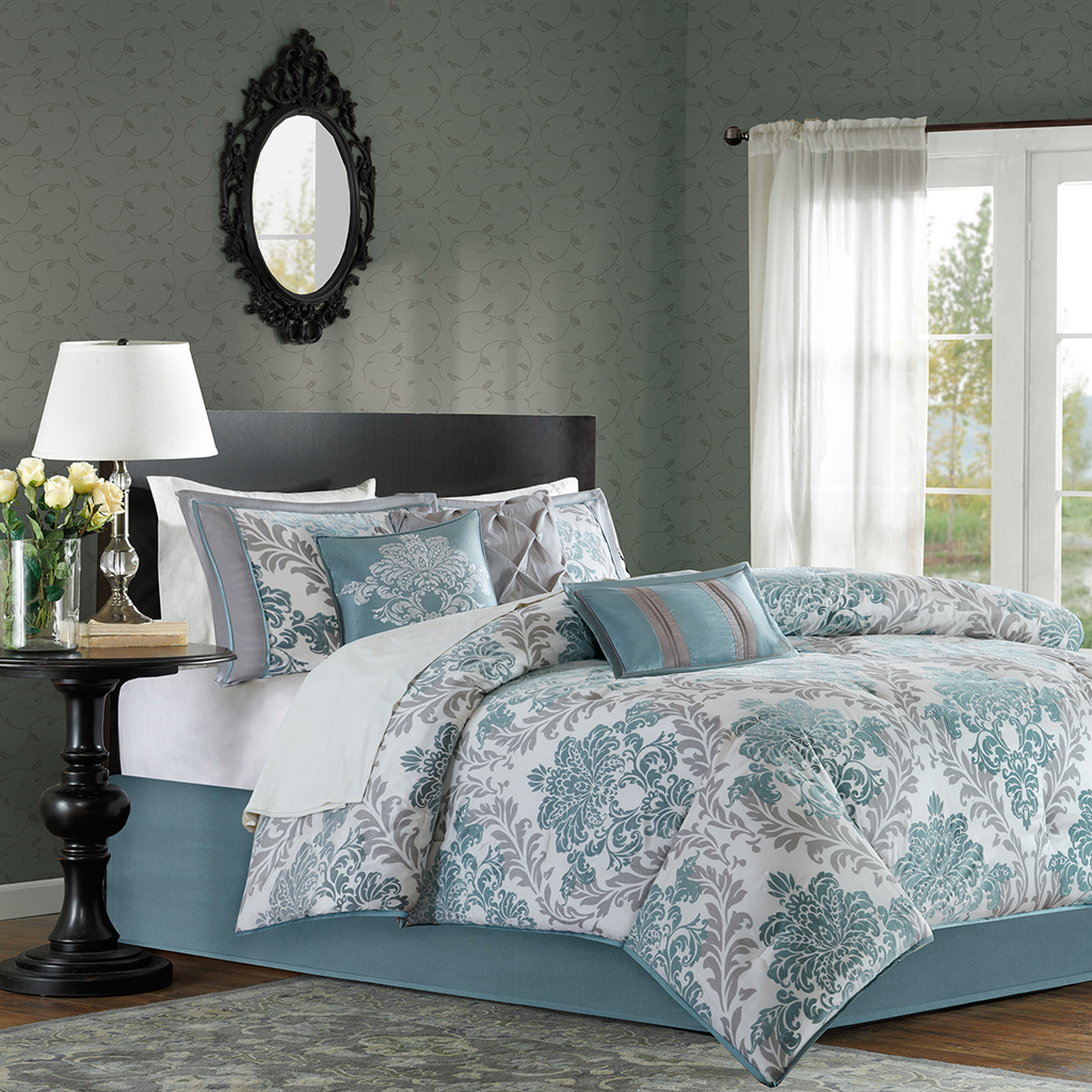 Madison Park - Bella 7 Piece Comforter Set - Aqua - Cal King