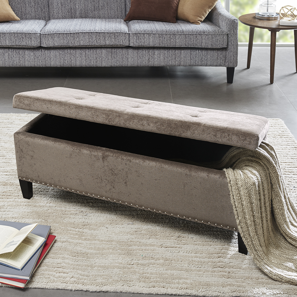 Madison Park - Shandra II Tufted Top Storage Bench - Taupe - See below