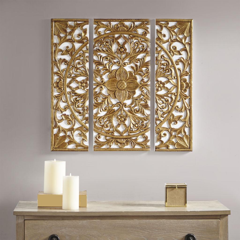 Madison Park - Gold Medallion 3 Piece Canvas Set Medallion 3D Design - Gold - See below
