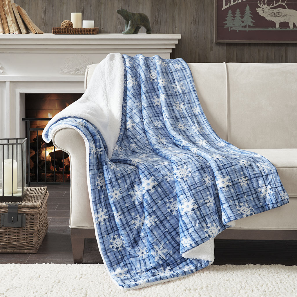 True North by Sleep Philosophy - Cozy Plush to Berber Throw - Blue - 50x60
