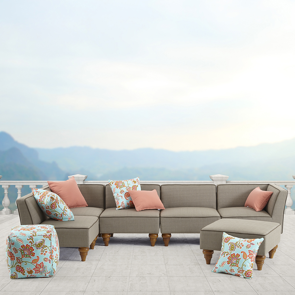 Madison Park - Dalton Outdoor Lounge - Beige - See below Material: Aluminum Frame with Upholstery, Plastic Legs  Fabrication: 100% Polyester  Filling: D25 Foam