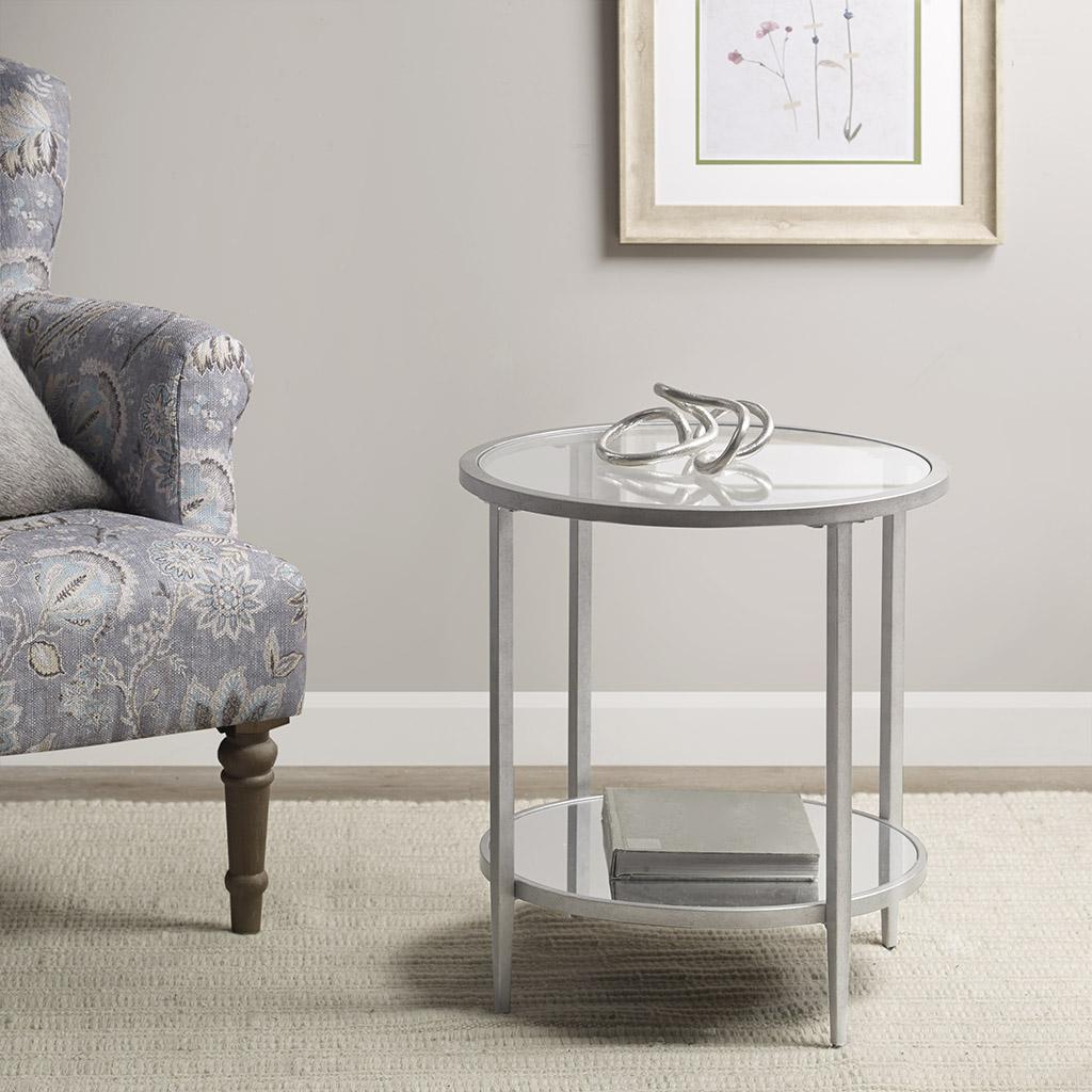 Martha Stewart - Jamie Glass Top Round Accent Table - Silver - See below
