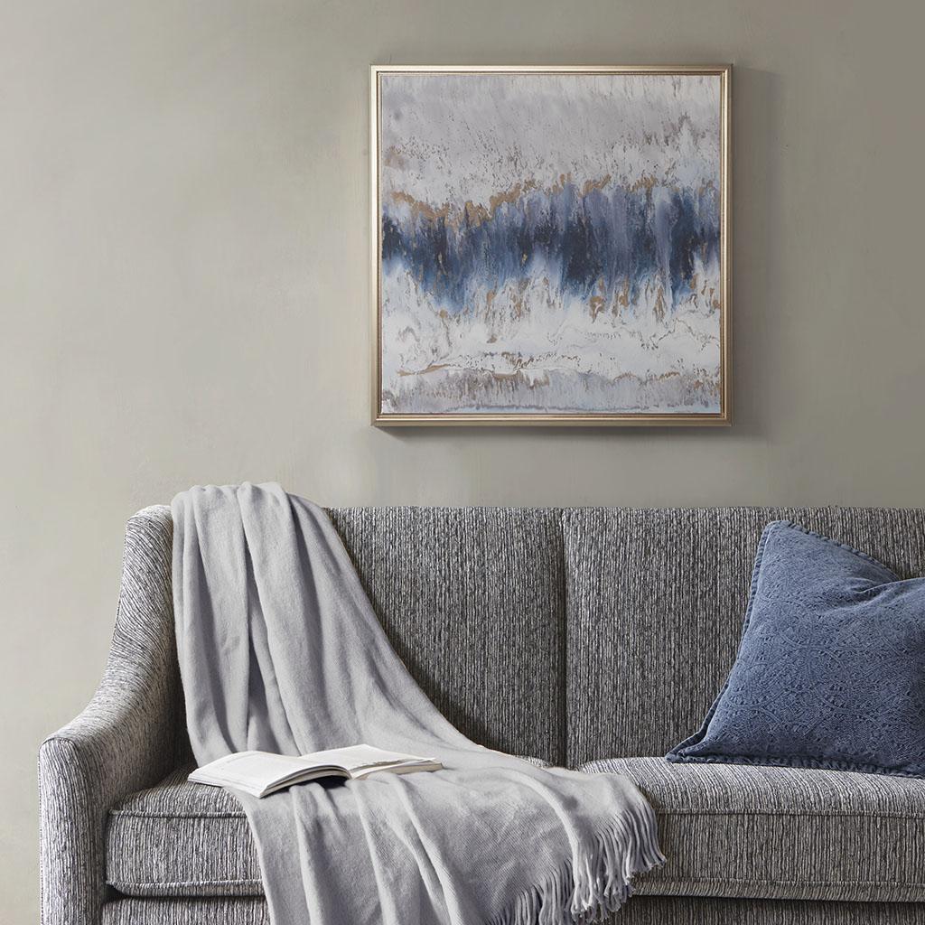 Madison Park - Blue Embrace Framed Canvas With Gel Coat And Gold Foil - Blue/Grey - See below