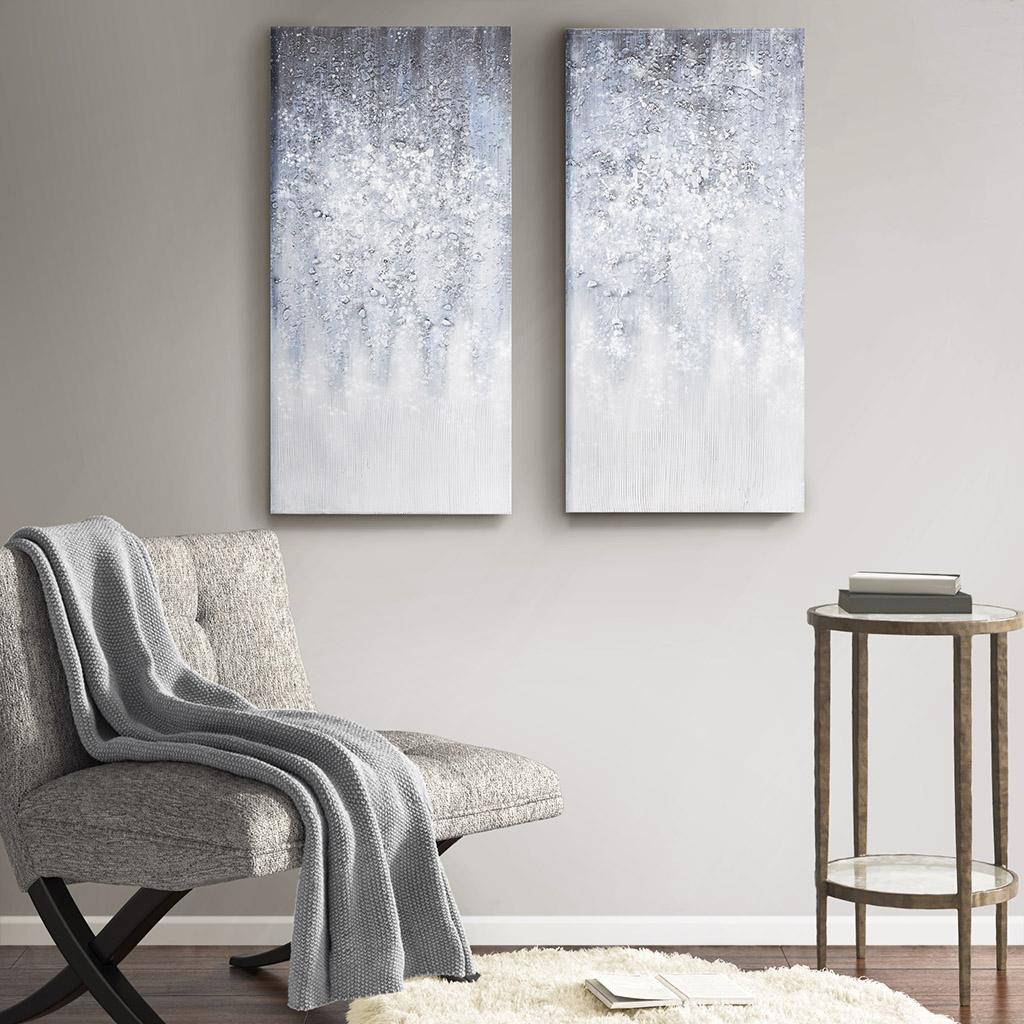 Madison Park - Winter Glaze Heavy Textured Canvas with Glitter Embellishment 2 Piece Set - Blue/White - See below