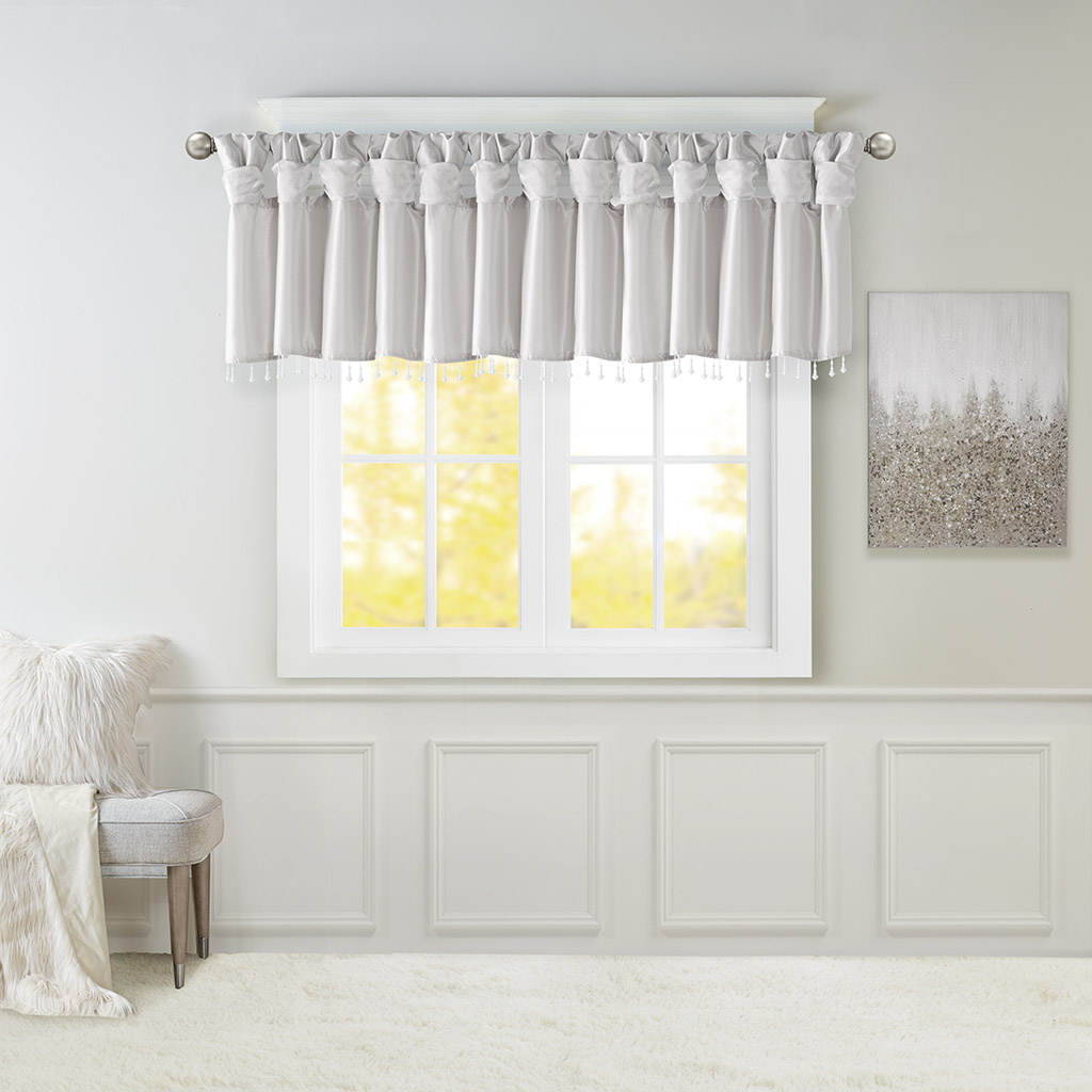 Madison Park - Emilia Lightweight Faux Silk Valance With Beads - Silver - 50x26