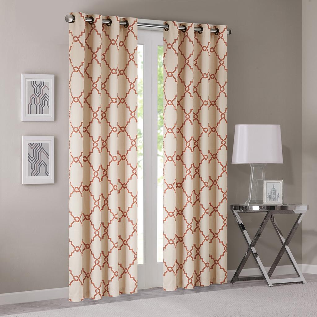 "Madison Park - Saratoga Fretwork Print Grommet Top Window Curtain - Beige/Spice - 84"" Panel"