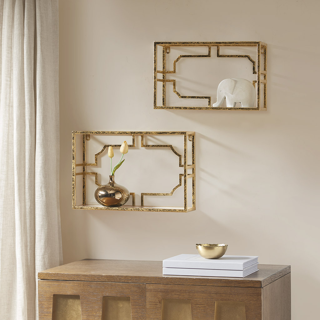 Madison Park Signature - Addison set of 2 Mirror shelf - Gold - See below