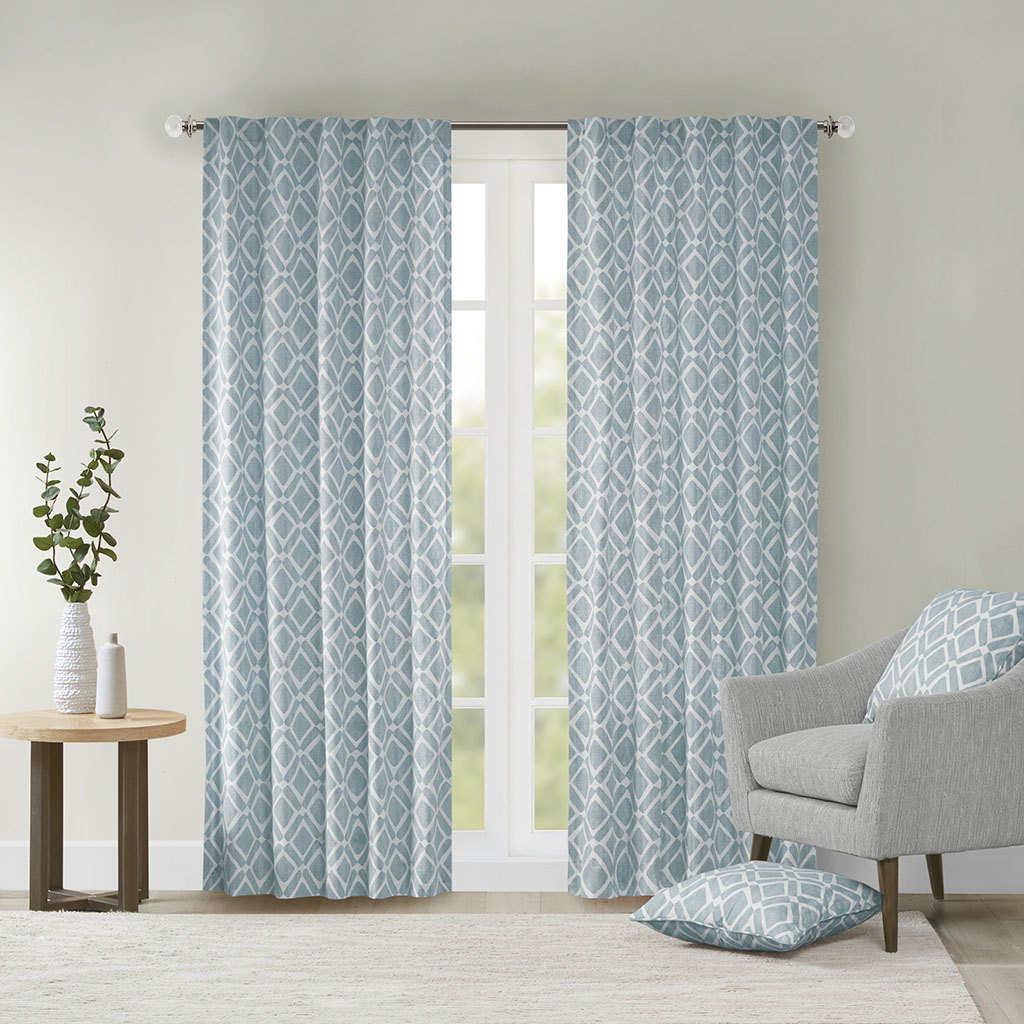 "Madison Park - Delray Diamond Window Curtain - Blue - 95"" Panel"