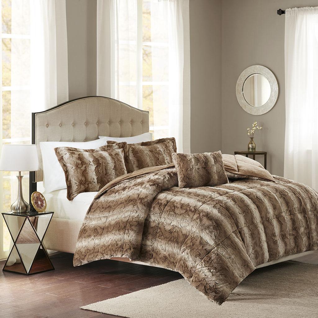 Madison Park - Zuri Faux Fur Comforter Set - Tan - Full/Queen