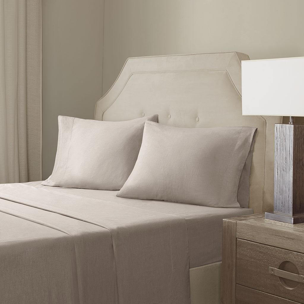Madison Park Signature - Cotton Linen Blend Sheet Set - Taupe - King