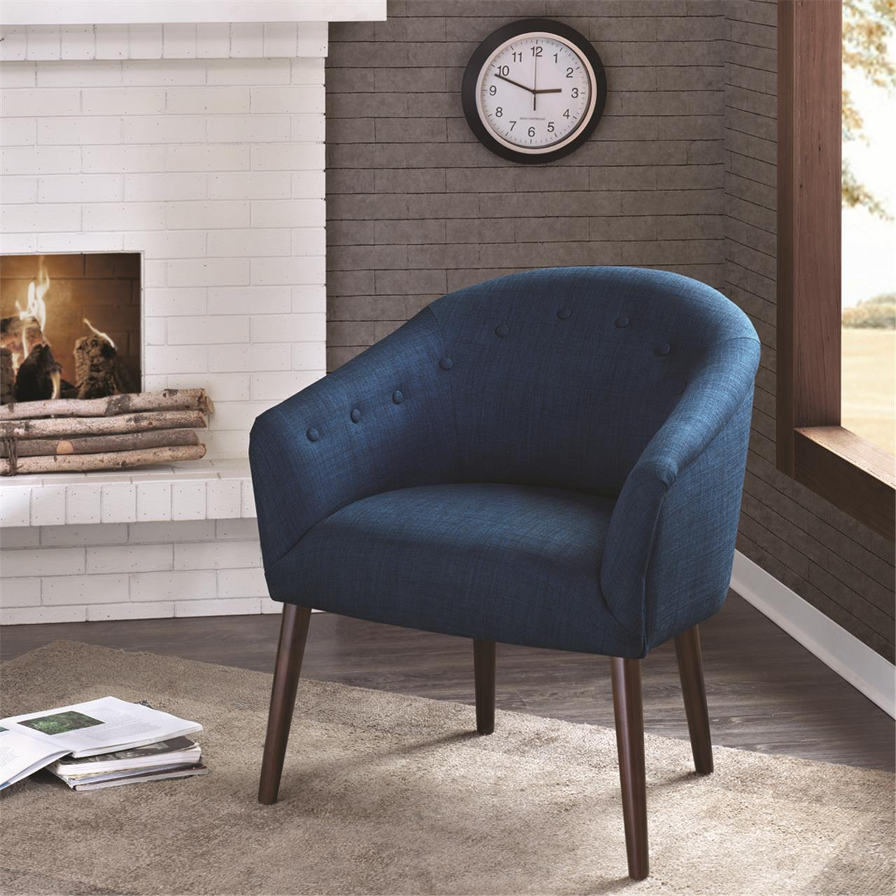 Madison Park - Camilla Barrel Back Accent Chair - Navy - See below