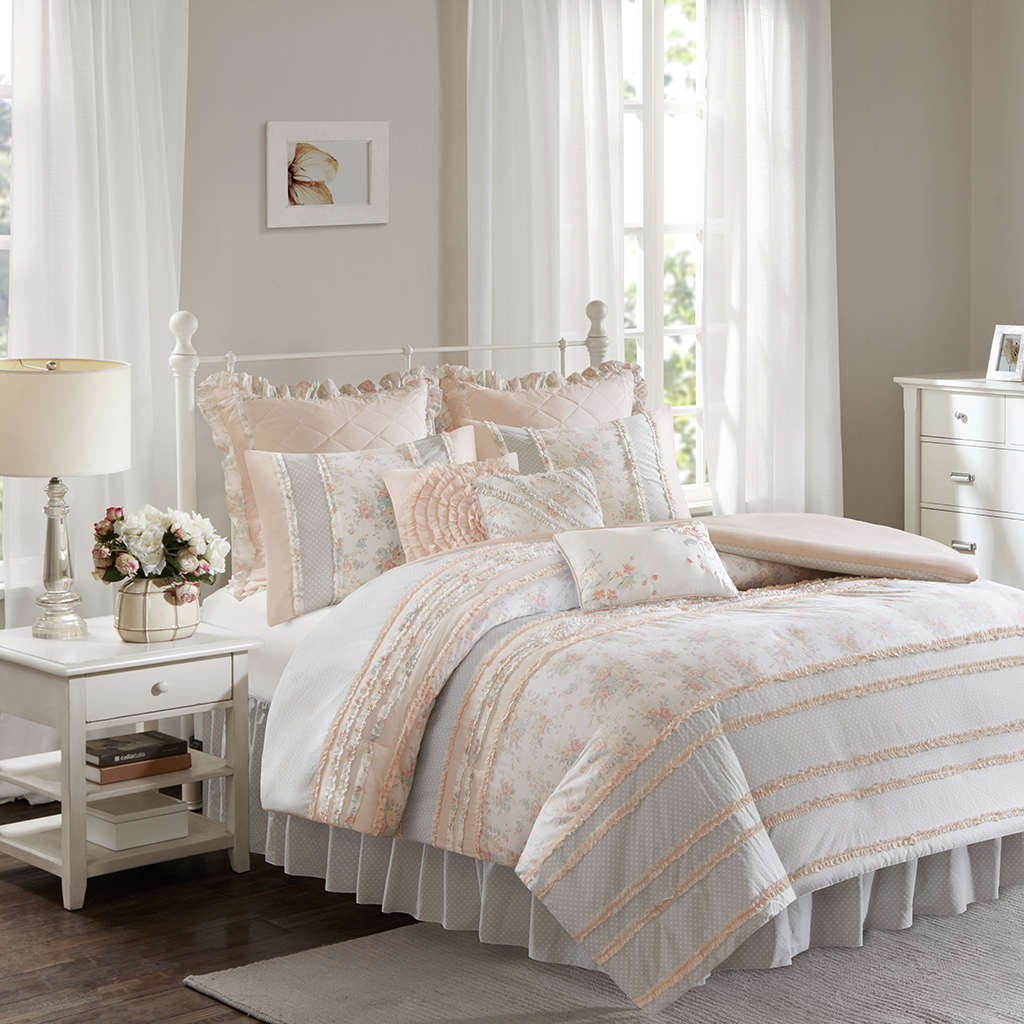Madison Park - Serendipity Cotton Percale Duvet Cover Set - Coral - Cal King