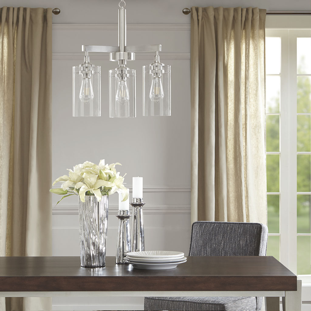Madison Park Signature - Halsey Three Shade Chandelier - Silver - See below