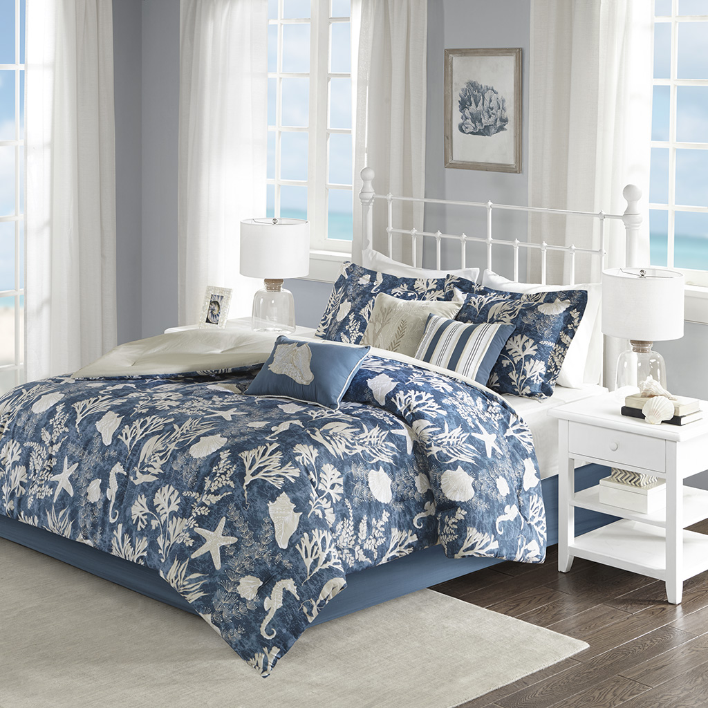 Madison Park - Cape Cod 7 Piece Cotton Sateen Comforter Set - Blue - King