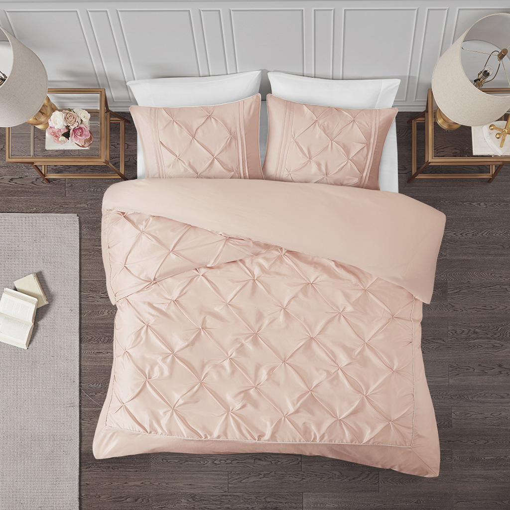Madison Park - Laurel 3 Piece Tufted Duvet Cover Set - Blush - King/Cal King
