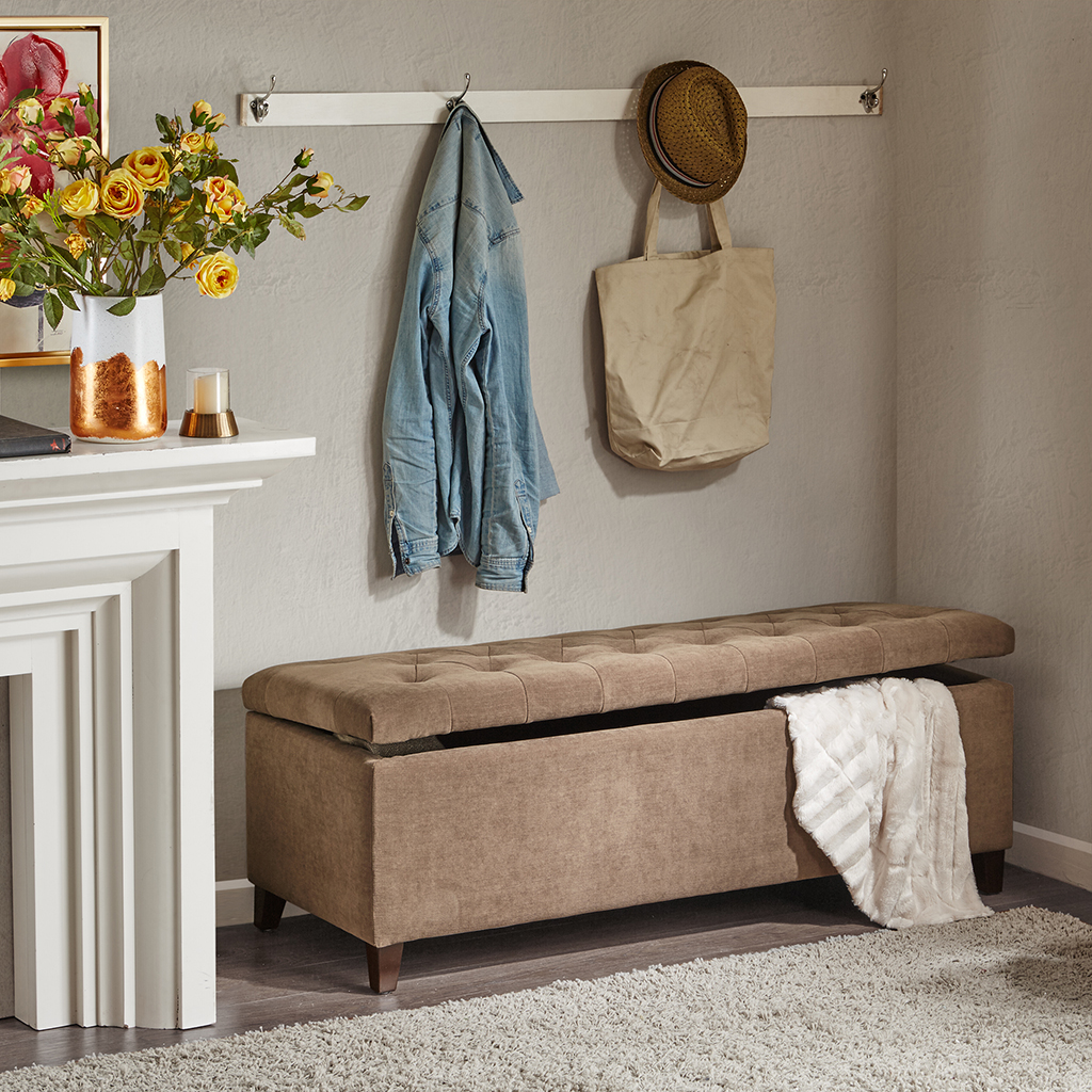 Madison Park - Shandra Tufted Top Storage Bench - Brown - See below