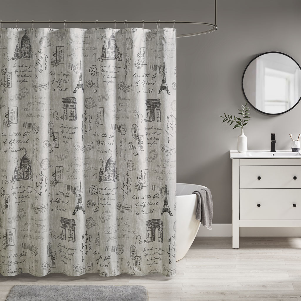 510 Design - Marseille Paris Printed Shower Curtain - Grey/Charcoal - 72x72