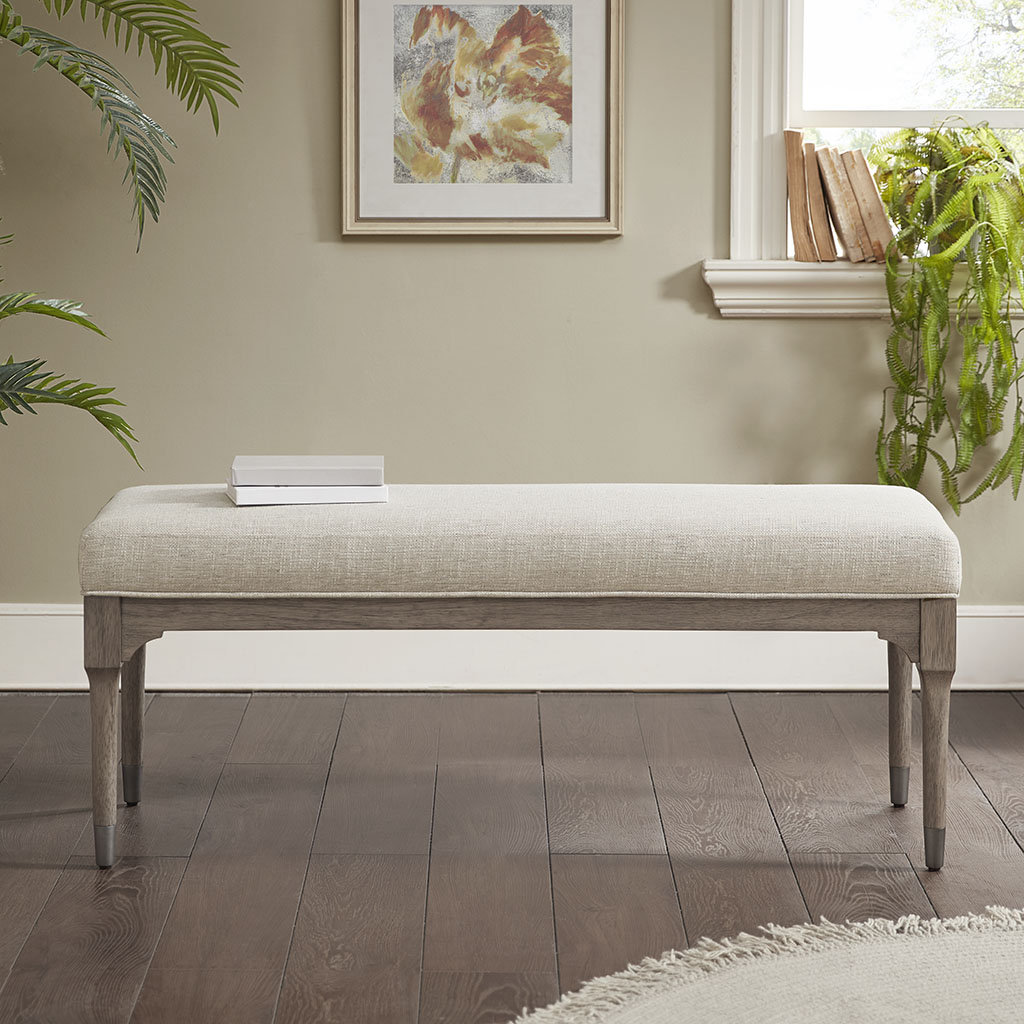 Material Details:Solid Wood frame with upholsterd seat  Frame Composition:solid wood  Leg Material:Rubber wood  Wood Finish:Washing Grey  Cushion or Upholstery Fill Material: Foam