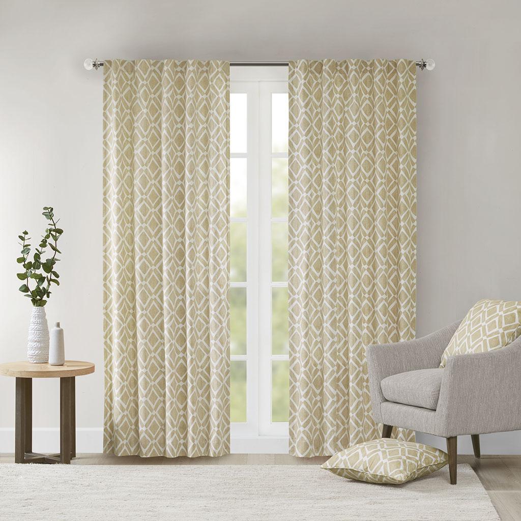 "Madison Park - Delray Diamond Window Curtain - Tan - 63"" Panel"