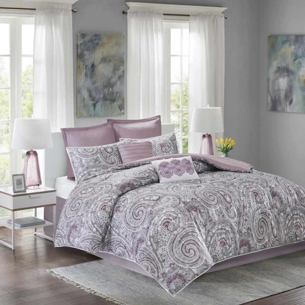 Comfort Spaces - Kashmir 8 Piece Comforter Set - Purple - King