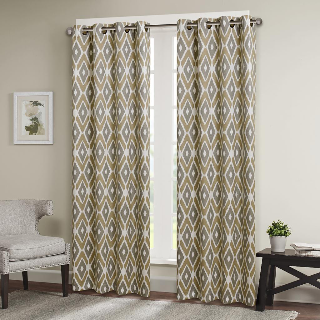 "Madison Park - Ashlin Diamond Printed Window Curtain - Taupe - 63"" Panel"
