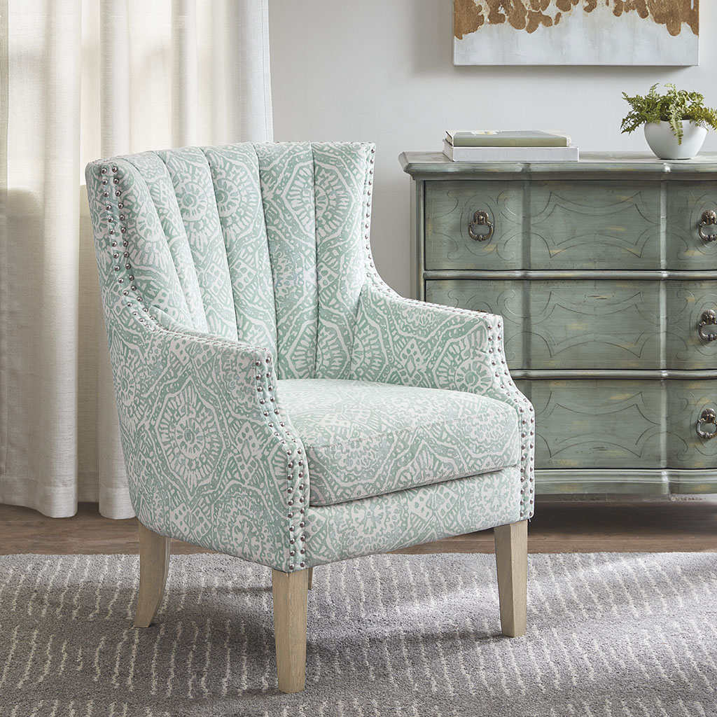 Material Details:Solid Wood and Plywood, Fabric and Foam  Frame Composition: Solid wood and Plywood  Leg Material: Solid Wood  Fabric Composition: 100% polyester  Arm Material: Solid wood and Plywood   Cushion or Upholstery Fill Material: Foam  Wood Finish: I&I Wheat  Nailhead Color: Pewter Nails