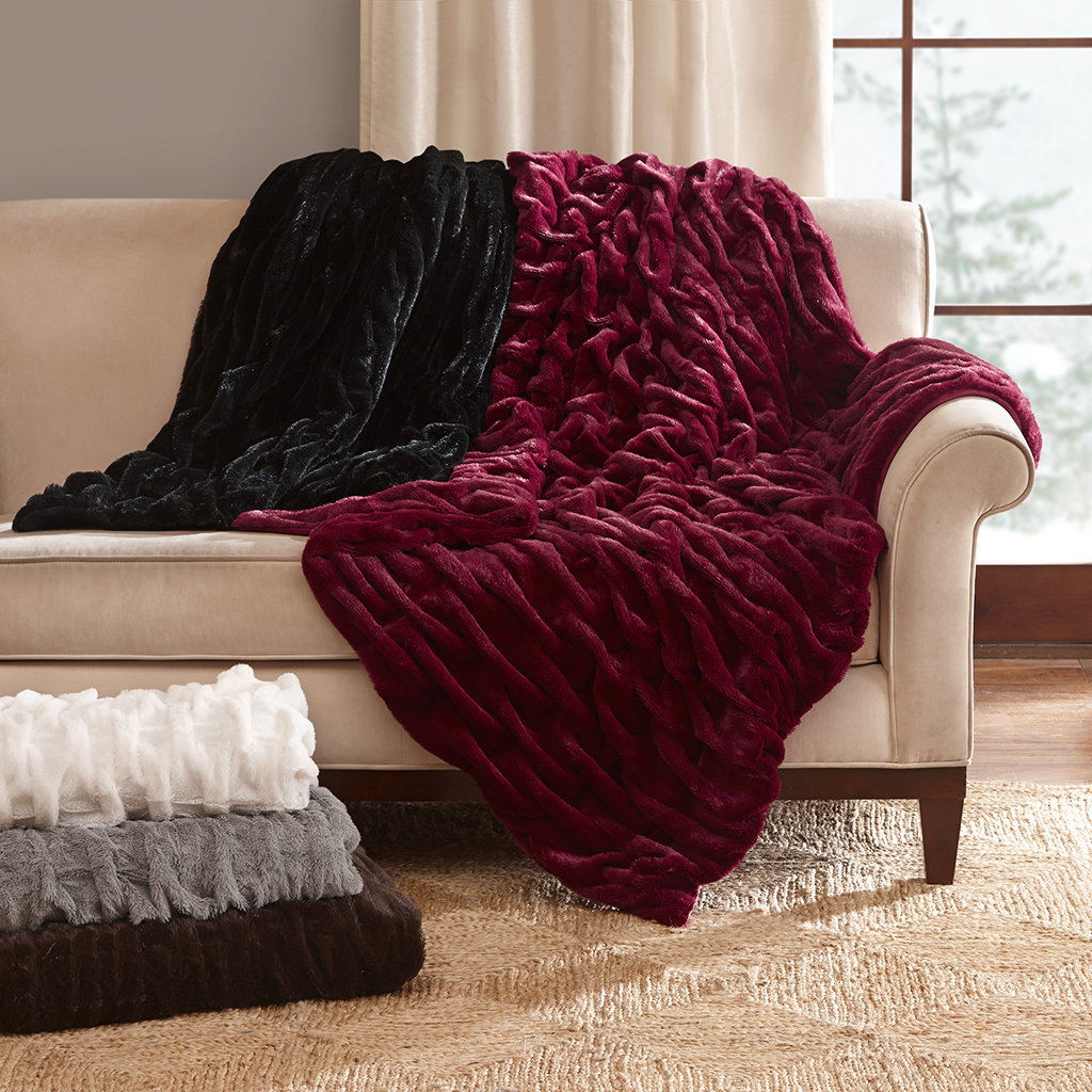 Madison Park - Luxury Ruched Fur Throw - Brown - 50x60