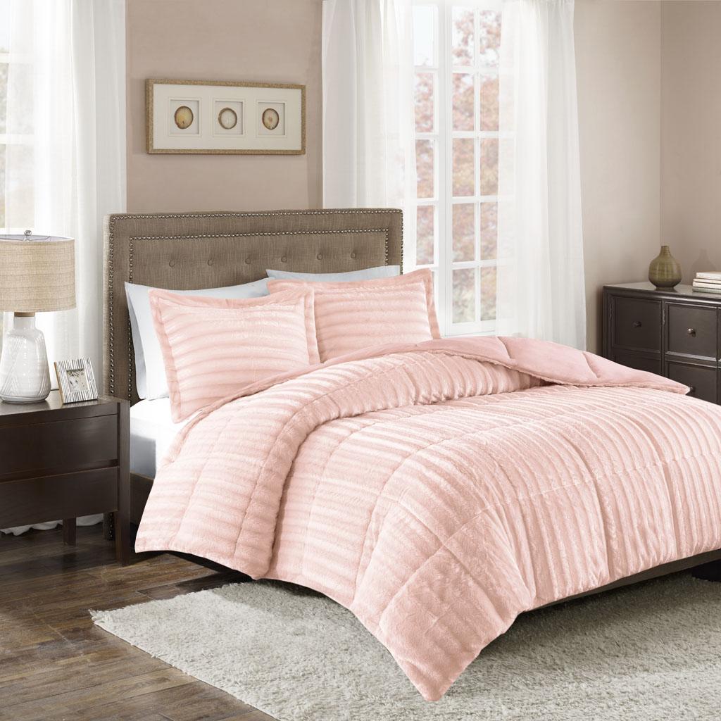 Madison Park - Duke Faux Fur 3 Piece Comforter Set - Blush - Full/Queen
