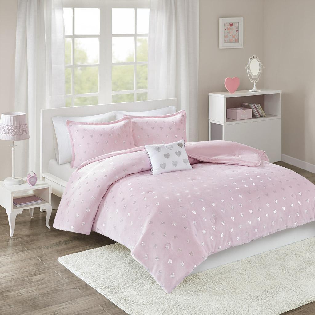 Mi Zone - Rosalie Metallic Printed Plush Comforter Set - Pink/Silver - Twin/Twin XL