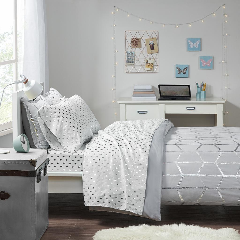 Intelligent Design - Metallic Dot Printed Sheet Set - Grey/Silver - Twin XL